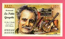 Billet fantaisie factice de 100 francs publicitaire Georges Brassens restaurant