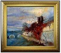 Framed, Riverside View, Quality Hand Painted Oil Painting 20x24in