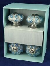 4 Instant Furniture Update Ceramic Drawer Pulls Knobs Stunning Blue w/ Silver