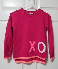 OLD NAVY Crew Neck Sweater Pink with XO & Heart Graphic Girl's Youth Size Medium