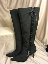 Suzanne Somers knee high boots size 8.5M Black with zipper and lace up accent