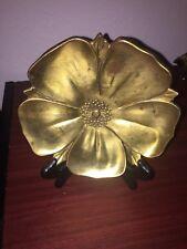 Vintage Brass Dogwood Flower Candy Dish Plate Philadelphia Manufacturing Co
