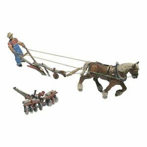 Woodland Scenics ~ HO Scale ~ Plow, Disc, Horse & Man Set ~ 9 Pieces ~ D210