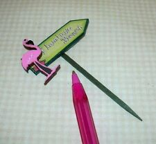 "Miniature Beach SIGN on STAKE ""Flamingo Beach"" w/3-D Flamingo: DOLLHOUSE 1/12"