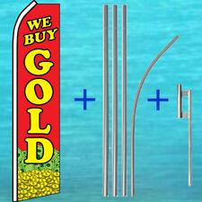 We Buy Gold Flutter Flag + Pole Mount Kit Tall Feather Swooper Banner Sign
