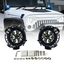 Xprite 2x 21W CREE LED Spotlight Blue DRL Eagle Eye with Steel Cover Offroad 4WD
