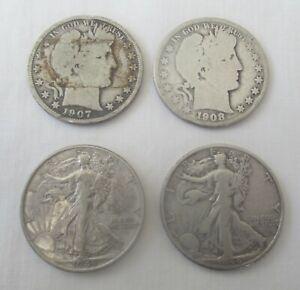 4 Silver Half Dollars 2 Barber 07 & 08 S  &  2 Walking Liberty 43 & 44D