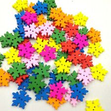 100pcs Mixed Wodden Bottons Christmas Multicolor Snowflake Pattern Sewing Crafts