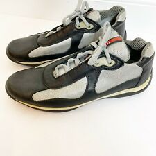 PRADA Mens America's Cup Shoes Black Gray Leather Sneaker Lace Up Sport Size 10W