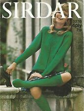 VINTAGE 1970's KNITTING PATTERN WOMEN'S MOD JUMPER & MATCHING LONG SOCKS