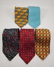 Lot of 5 Designer JoS. A. Bank Mens Ties/100% Silk /Polka Dot-Paisley-Nautical