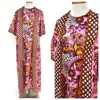 Vintage VTG 1960s 60s Pink Paisley Silk Psychedelic Wrap Kaftan Maxi Dress