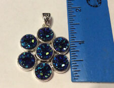 Sterling Silver Blue-Green Rainbow Titanium Druzy Pendant, Pre-owned