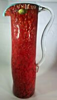 NOUVEAU HANDCRAFTED Mottled Red Art Glass Pitcher/Vase w/Turquoise Rim
