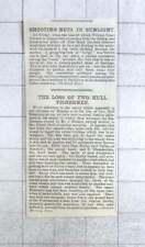 1885 2 Hull Fishermen Lost From Smack Partenhope, Charles Barley, E Chamberlain