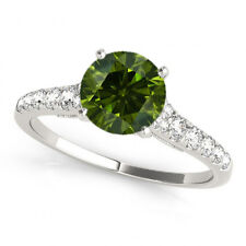0.51 Carat Green Solitaire Wedding Engagement Ring Best Price 14k White Gold !!!
