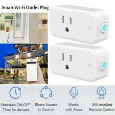 2 Pack Smart Wifi Mini Outlet Plug Switch Remote Control Works with Echo Alexa