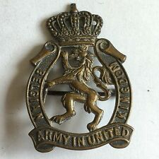 Vintage Belgian Army In United Kingdom Cap Badge / Pin / Brooch 4.3cm