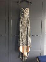 Amazing Sherri Hill Silver Evening Prom Dress Ball Gown