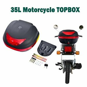 35L Universal Matte Motorcycle Motorbike Scooter Luggage Box Top Case Black