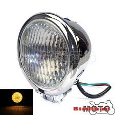 """Bottom Mount Cafe Racer Bobber Motorcycle Chrome Headlight Lamp Bates 4-1/2"""""""