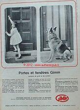 PUBLICITE GIMM PORTE FENETRE EN BOIS MENUISERIE CHIEN BERGER ALLEMAND DE 1964 AD