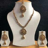 BEIGE GOLD INDIAN KUNDAN COSTUME JEWELLERY NECKLACE EARRINGS CRYSTAL SET NEW 957