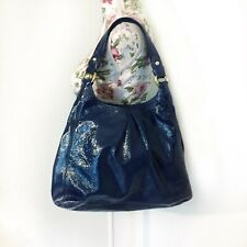 Coach Maggie Dark Navy Blue Patent Leather Pleated Hobo Shoulder Bag Purse Large