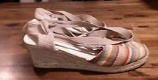 Talbots Womens  Espadrille Sandals Sz 7 tie around ankle Wedge Heel Fabric