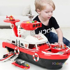 Simulation Track Boat Toys For Kids Vehicles Light Ship Car Music Story