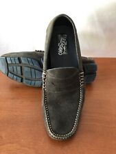 Pre Owned Salvatore Ferragamo Nuevo Gray Suede Drivers Loafers 9EE