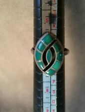 Vintage Native American Cabochon Green & Onyx  Sterling Silver size 7