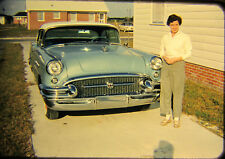 Vtg 35mm 1950s American Life Woman with 1955 Buick Century 2