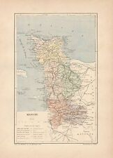 C9051 France - MANCHE - Cartina geografica antica - 1892 antique map