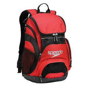 SPEEDO TEAMSTER BACKPACK 35L - RED SWIMMING BAG RUCKSACK WATERPROOF BASE RRP £48