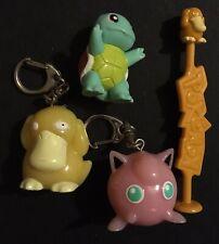 4 X Pokemon Figures Bundle Jigglypuff Psyduck Squirtle TOMY Keyrings RARE
