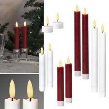"""2er Set LED Stab-Kerze """"3D FLAMME"""" Echt-Wachs-Mantel mit TIMER flackernd Tafel"""