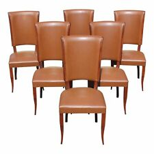 Classic Set of 6 French Art Deco Mahogany Dining Chairs by Jules Leleu AS IS
