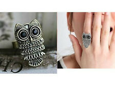 Fashion Jewelry Silver Bronze Alloy Crystal  Owl Ajustable Ring Women Accessory