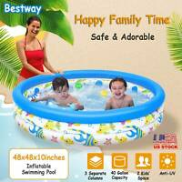 "48x 10"" Inflatable Swimming Pool 3 Velvets Instant Water Play Pool Center 2 Kids"