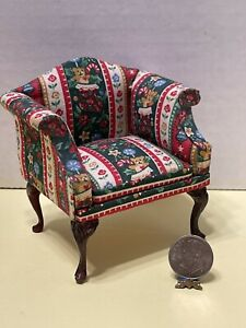CHRISTMAS In JULY! Early BESPAQ Christmas Arm Chair Dollhouse Miniature 1:12