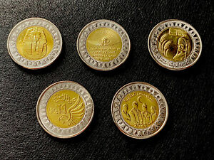 Full Set of 5 Amazing Egypt Pound Coins: PHARAOS, TOT, Pandemic Rural, Police