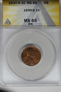 1930-S   .01   ANACS   MS 65 RB    Lincoln Head Cent, Lincoln One Cent