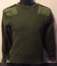 Men's Green Army Jumper Vintage 70's Thick Jersey Mans Heavy Olive Drab Size 4