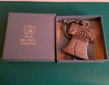 The ROMANCE Of PEWTER LIBERTY BELL Boswell CHASE KEYCHAIN OLDE COLONIAL PEWTER