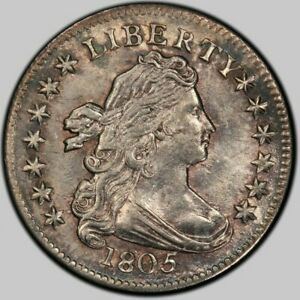1805 4 Berries Draped Bust Silver 10c Coin JR-2 PCGS Genuine UNC Details (V Ch)