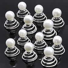 12 Curlies Haarnadeln Perlen WEISS Hochzeit Kommunion Haarschmuck weiß NEU