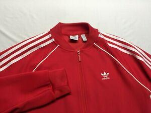 Adidas Men's Activewear Bomber Jacket Red Size Medium M Trefoil full zip