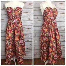 Laura Ashley Vintage Size 10 Red Floral Strapless Garden Tea Dress See Descrip