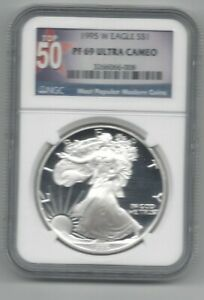 1995-W $1 Proof Silver Eagle NGC PF69 Ultra Cameo RARE TOP 50 LABEL